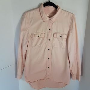 Madewell Tomboy peachy/pink button down.  Small